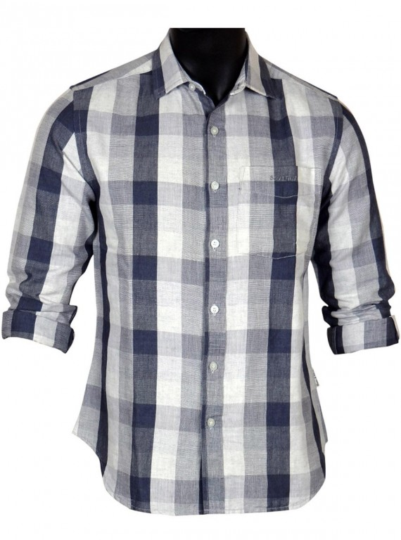 slim fit - Grey Stripped Linen Shirt