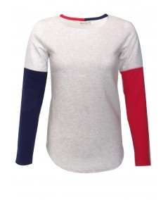 Contrast Fleece Ecru Melange Top