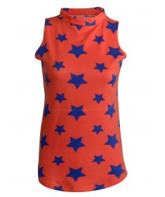 Star Print High Neck Top