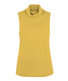 Yellow Roll On Neck Sleeveless Top