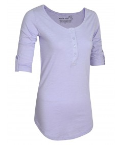 Purple Slub Button Top