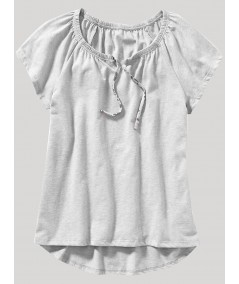 Grey Melange Pleated Womens Top