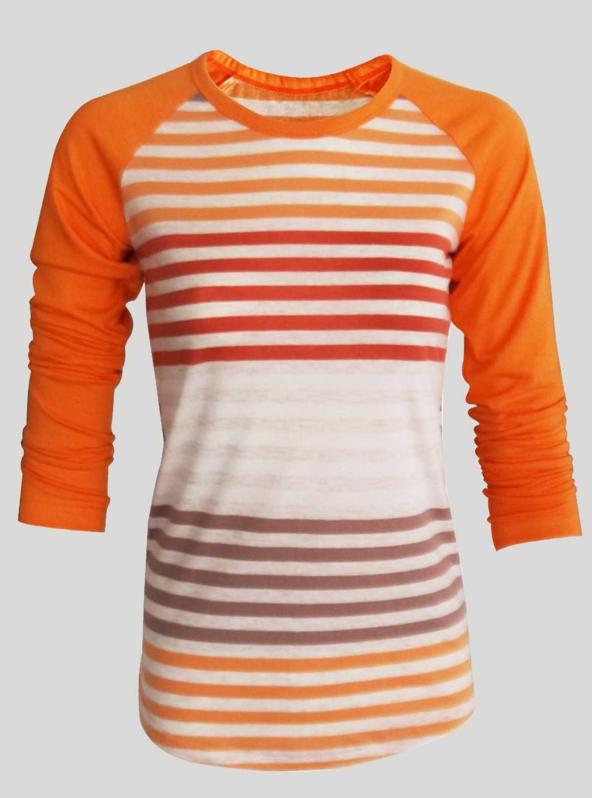 Orange Sripped Womens Top