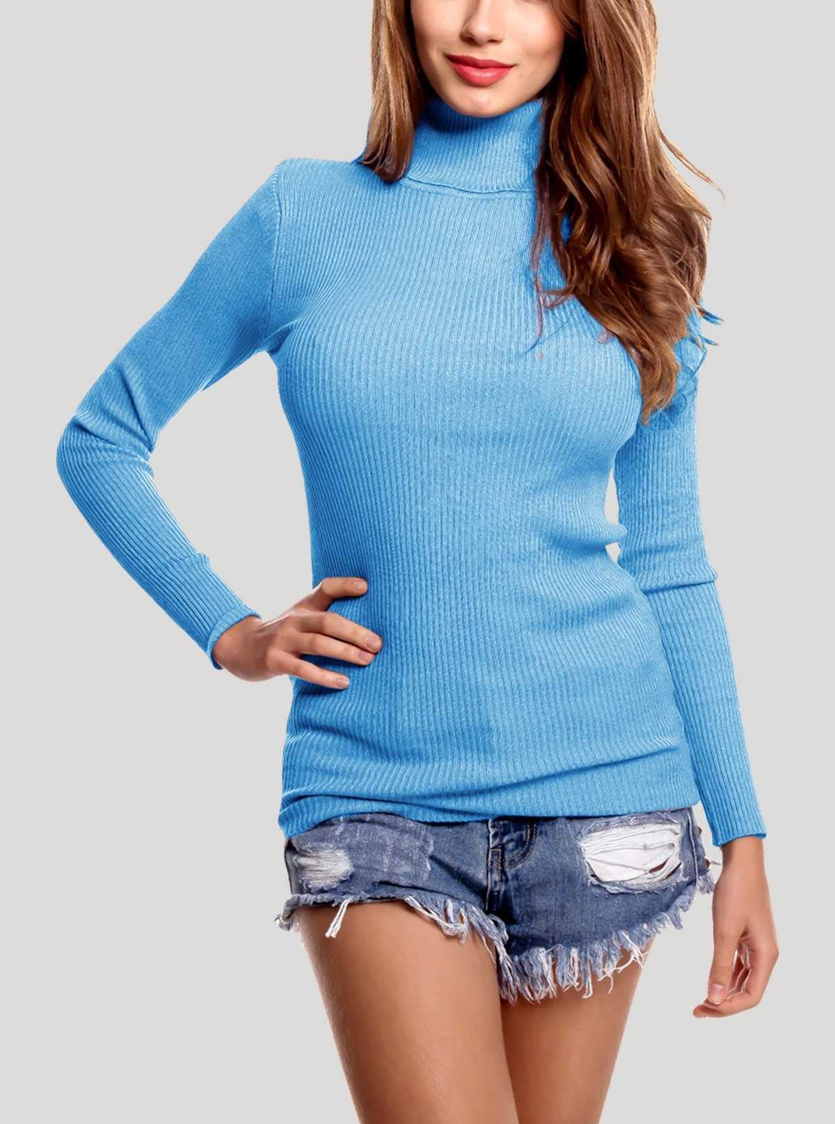 Long Sleeve Roll on Neck Sky Blue Top