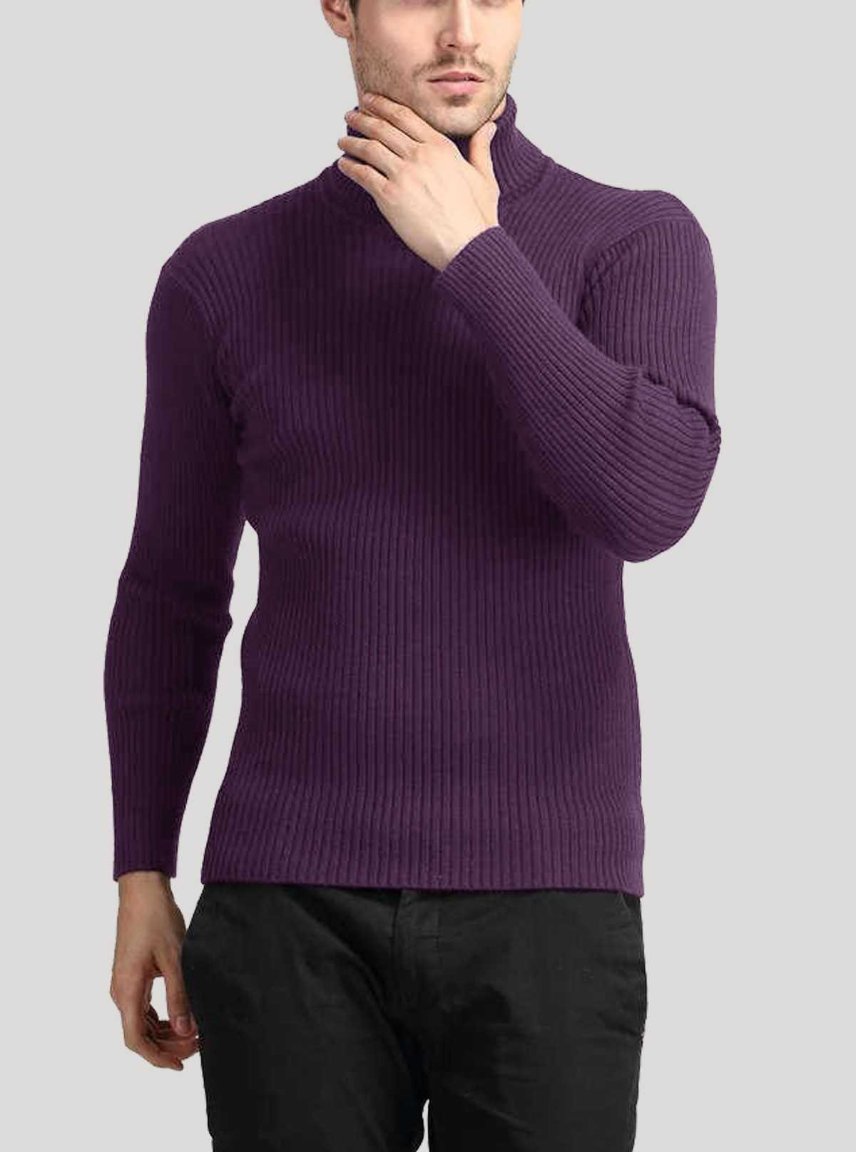 Purple Turtle Neck Sweat Shirt