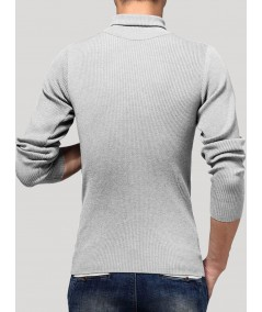 Grey Melange Turtle Neck Sweat Shirt