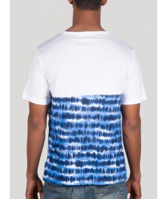 Blue Graphic Split Neck TShirt