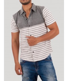 Dark Melange Stripe Polo TShirt