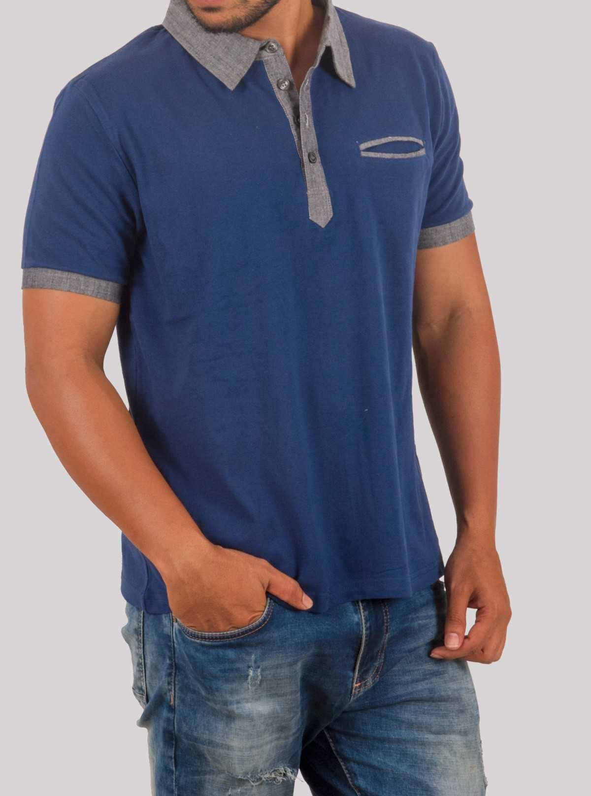 Blue Button Polo TShirt