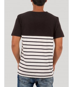 Black Contrast Striped TShirt