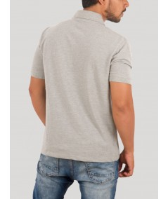 Grey Melange Chest Embroidery Polo Tshirt