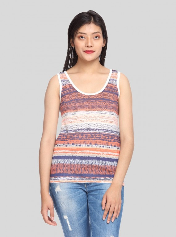 Ecru Printed Sleeveless Top