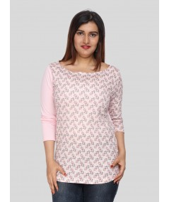 Pink Glitter Printed Neck Top