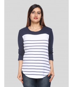 White Navy Stripe Womens Top
