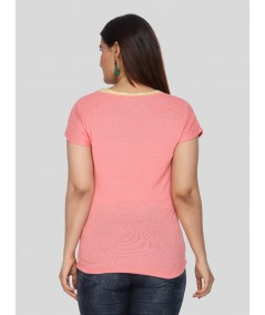 Salmon Dotted Cut & Sew Womens Top