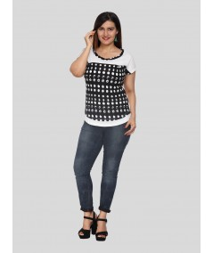 Black Graphica Cut & Sew Womens Top