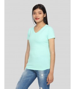 Womens Turquiose Green V Neck Tee