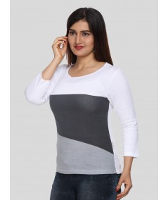 White Contrast Womens Top