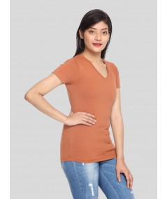 Womens Brown V Neck Tee