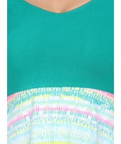Green Contrast Scattered Top
