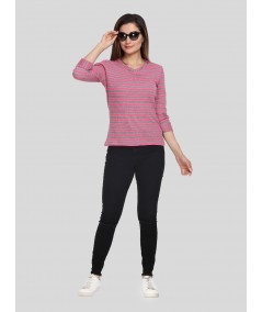 Fuscia Rolled Neck top