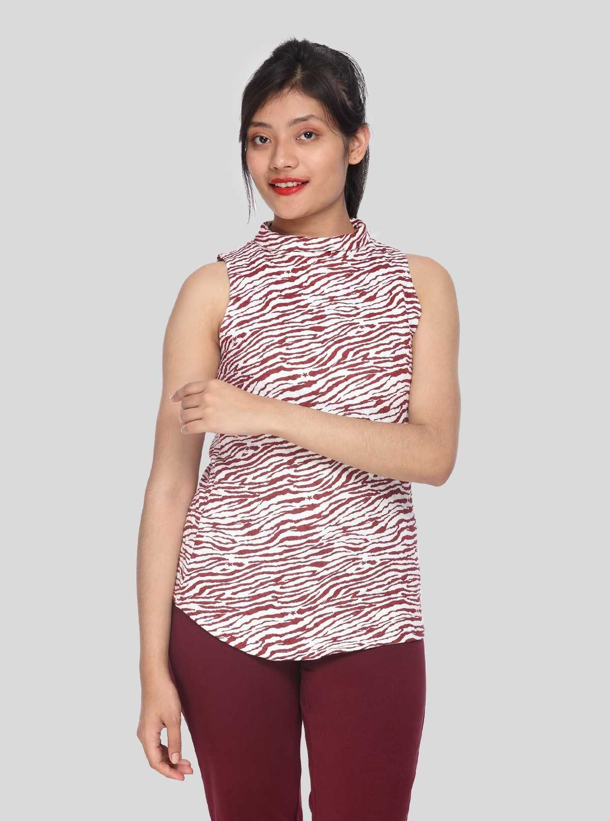 Graphica Print High Neck Top