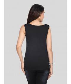Sleeveless Black Graphic Print Top
