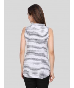 Distressed Stripe High Neck TShirt