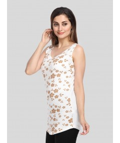 Gold Floral Graphic Print Top