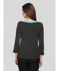 Green Faded Buttoned Top