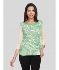 Ecru Artic Print Buttoned Top