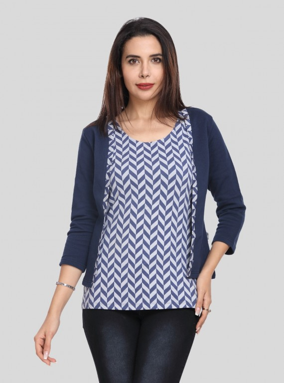 Ink Blue Fleece Set Top