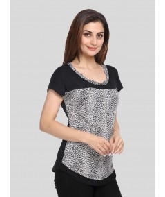 Scattered Black Cut & Sew Womens Top
