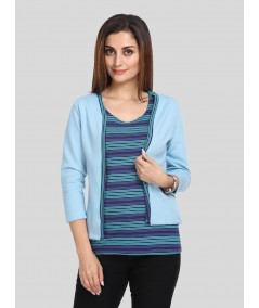 Light Blue Fleece Set Top