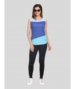 Multi Blue Womens Sleeveless Top