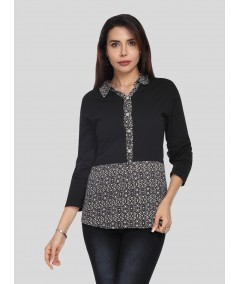 Black Collared Womens Top