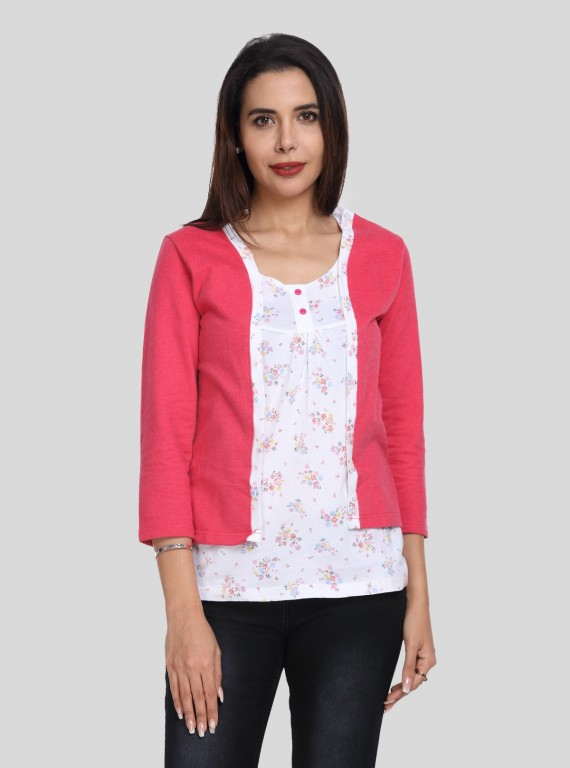 Dark Fuschia Fleece Set Top