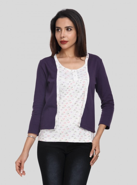 Purple Fleece Set Top
