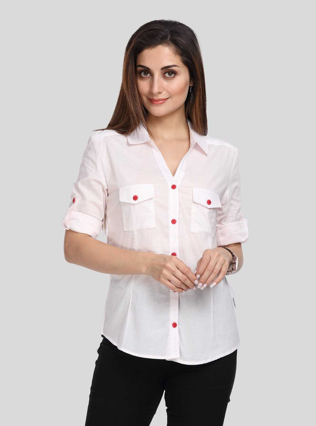 Women S White Casual Shirt Boer And Fitch Color White Size L Women's shirts not only offered the best coverage of their upper body but also made them stay comfortable. white self design women shirt