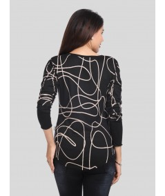 Black Gold Print Buttoned Top