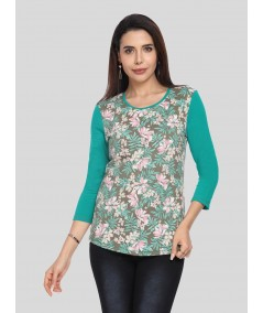 Green Floral Print contrast TShirt