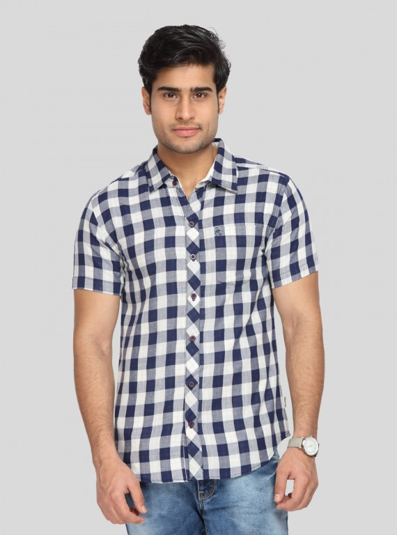Navy checkered Half Sleeve Shirt