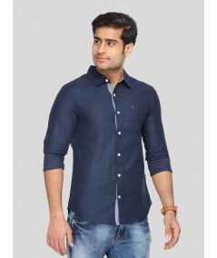 Navy Textured Slim Fit Full Sleeve Shirt