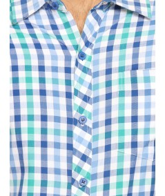 Green Checked Slim Fit Full Sleeve Shirt