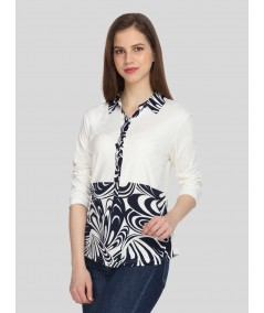 Floral Collared Womens Top