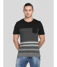 Black Lined Round Neck TShirt