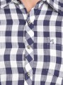 Navy Checked Slim Fit Full Sleeve Shirt