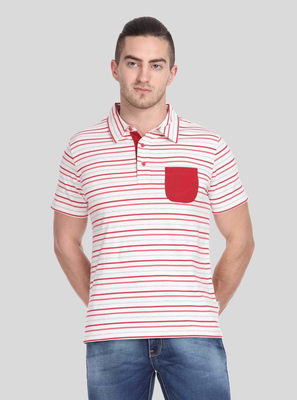 Red Stripe Self Collar Polo TShirt