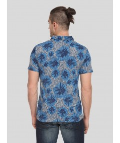 Blue Floral Self Collar Polo TShirt