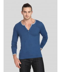 Navy Neck Binding Henley TShirt